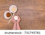 alternative vegan milk recipe ... | Shutterstock . vector #731745781