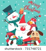 merry christmas card with santa ... | Shutterstock .eps vector #731748721
