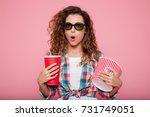 surprised caucasian woman in 3d ...   Shutterstock . vector #731749051