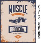 vintage muscle car vector tee... | Shutterstock .eps vector #731749891