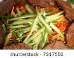 meat with vegetables  cucumbers ... | Shutterstock . vector #7317502