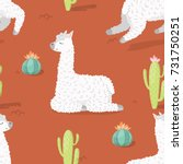 seamless pattern with alpaca  ... | Shutterstock .eps vector #731750251