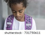 a cheerful african american... | Shutterstock . vector #731750611