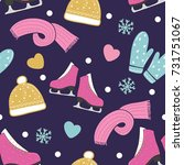 winter seamless pattern with... | Shutterstock .eps vector #731751067