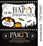 happy halloween poster template.... | Shutterstock .eps vector #731754307