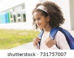 a cheerful african american... | Shutterstock . vector #731757007