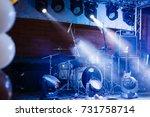 cymbals set in blue light of...   Shutterstock . vector #731758714