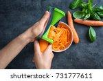 woman using vegetable spiral...   Shutterstock . vector #731777611