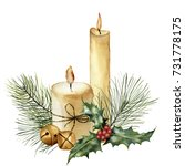 watercolor christmas candle... | Shutterstock . vector #731778175