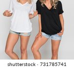 cropped two girls in white and... | Shutterstock . vector #731785741