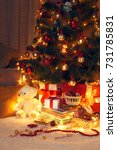 christmas tree with decoration... | Shutterstock . vector #731785831