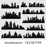 city silhouette  set. panorama...   Shutterstock . vector #731787799