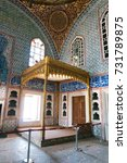 Small photo of Istanbul, Turkey - June 26, 2014:Painted walls and luxury room in the harem section of the Topkapi Palace, in Istanbul, Turkey.