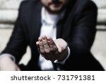 close up hand of poor man... | Shutterstock . vector #731791381