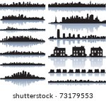 Stock vector set of vector detailed cities silhouette 73179553