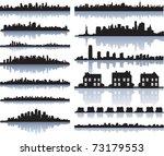 set of vector detailed cities... | Shutterstock .eps vector #73179553