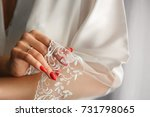 natural nails with red manicure ... | Shutterstock . vector #731798065
