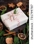 christmas gift on the antique... | Shutterstock . vector #731799787