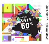 autumn sale memphis style web... | Shutterstock .eps vector #731801284