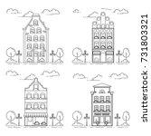 city skyline set in line art... | Shutterstock .eps vector #731803321