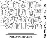 personal hygiene line banner.... | Shutterstock .eps vector #731803345