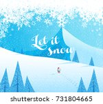winter mountain landscape... | Shutterstock .eps vector #731804665