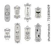 skateboards and longboards... | Shutterstock .eps vector #731808409