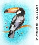toucan on a turquoise... | Shutterstock . vector #731811295