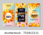 set of autumn party flyer... | Shutterstock .eps vector #731812111