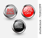 set of glossy sale buttons or... | Shutterstock .eps vector #731812399