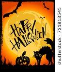 happy halloween card....   Shutterstock .eps vector #731813545