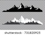set of black and white mountain ... | Shutterstock .eps vector #731820925
