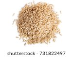 Pile Of  Brown Rice Isolated O...