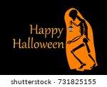 happy halloween card. ghost... | Shutterstock . vector #731825155
