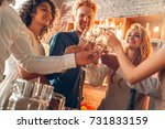 group of friends party together ... | Shutterstock . vector #731833159