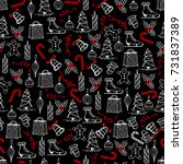 christmas seamless texture with ... | Shutterstock .eps vector #731837389