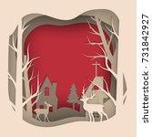 Vector Paper Cut Deer In Pine...