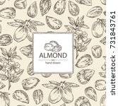 background with almond  almond... | Shutterstock .eps vector #731843761