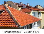 city landscape   red tiled... | Shutterstock . vector #731845471