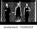 shop front store mannequin... | Shutterstock . vector #731852329