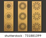 laser engraving panels set.... | Shutterstock .eps vector #731881399