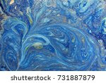 marbled blue abstract... | Shutterstock . vector #731887879
