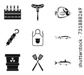 fish roast icons set. simple... | Shutterstock .eps vector #731888269