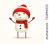 Cheerful Snowman. Vector...
