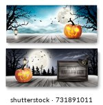 scary halloween banners with... | Shutterstock .eps vector #731891011