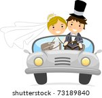 Illustration Of Newlyweds In A...