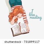 cute girl reads a book | Shutterstock .eps vector #731899117