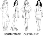 set of vector drawings on the... | Shutterstock .eps vector #731903419