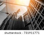 modern office building close up ... | Shutterstock . vector #731911771