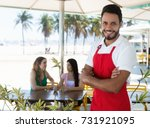 attractive waiter of a cocktail ... | Shutterstock . vector #731921095